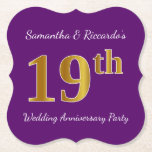 [ Thumbnail: Purple, Faux Gold 19th Wedding Anniversary Party Paper Coaster ]