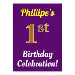 [ Thumbnail: Purple, Faux Gold 1st Birthday Celebration + Name Invitation ]