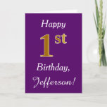 [ Thumbnail: Purple, Faux Gold 1st Birthday + Custom Name Card ]