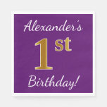 [ Thumbnail: Purple, Faux Gold 1st Birthday + Custom Name Paper Napkin ]