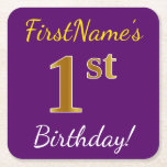 [ Thumbnail: Purple, Faux Gold 1st Birthday + Custom Name Paper Coaster ]