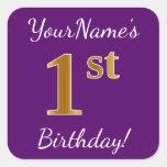 [ Thumbnail: Purple, Faux Gold 1st Birthday + Custom Name Sticker ]
