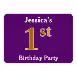 [ Thumbnail: Purple, Faux Gold 1st Birthday Party + Custom Name Invitation ]