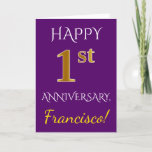 [ Thumbnail: Purple, Faux Gold 1st Wedding Anniversary + Name Card ]