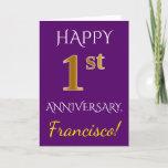 [ Thumbnail: Purple, Faux Gold 1st Wedding Anniversary + Name Card ]