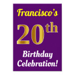 [ Thumbnail: Purple, Faux Gold 20th Birthday Celebration + Name Invitation ]