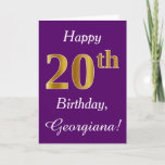 [ Thumbnail: Purple, Faux Gold 20th Birthday + Custom Name Card ]