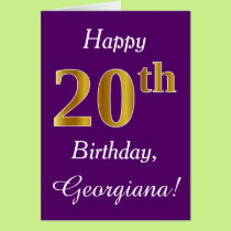 Purple, Faux Gold 20th Birthday   Custom Name Card