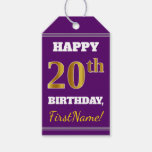 [ Thumbnail: Purple, Faux Gold 20th Birthday + Custom Name Gift Tags ]