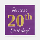 [ Thumbnail: Purple, Faux Gold 20th Birthday + Custom Name Napkin ]