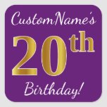 [ Thumbnail: Purple, Faux Gold 20th Birthday + Custom Name Sticker ]