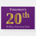 [ Thumbnail: Purple, Faux Gold 20th Birthday Party; Custom Name Guest Book ]