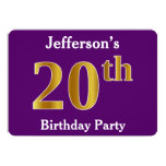 [ Thumbnail: Purple, Faux Gold 20th Birthday Party; Custom Name Invitation ]