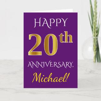 Purple, Faux Gold 20th Wedding Anniversary   Name Card