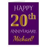 [ Thumbnail: Purple, Faux Gold 20th Wedding Anniversary + Name Card ]