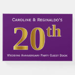 [ Thumbnail: Purple, Faux Gold 20th Wedding Anniversary Party Guest Book ]