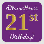 [ Thumbnail: Purple, Faux Gold 21st Birthday + Custom Name Sticker ]