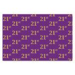 [ Thumbnail: Purple, Faux Gold 21st (Twenty-First) Event Tissue Paper ]