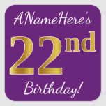 [ Thumbnail: Purple, Faux Gold 22nd Birthday + Custom Name Sticker ]