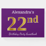 [ Thumbnail: Purple, Faux Gold 22nd Birthday Party; Custom Name Guest Book ]
