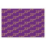 [ Thumbnail: Purple, Faux Gold 22nd (Twenty-Second) Event Tissue Paper ]