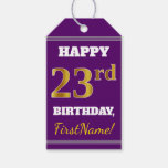 [ Thumbnail: Purple, Faux Gold 23rd Birthday + Custom Name Gift Tags ]