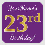 [ Thumbnail: Purple, Faux Gold 23rd Birthday + Custom Name Sticker ]