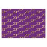 [ Thumbnail: Purple, Faux Gold 23rd (Twenty-Third) Event Tissue Paper ]