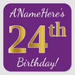 [ Thumbnail: Purple, Faux Gold 24th Birthday + Custom Name Sticker ]