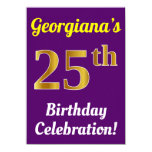 [ Thumbnail: Purple, Faux Gold 25th Birthday Celebration + Name Invitation ]