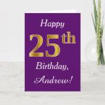 [ Thumbnail: Purple, Faux Gold 25th Birthday + Custom Name Card ]