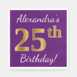 [ Thumbnail: Purple, Faux Gold 25th Birthday + Custom Name Napkin ]