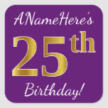 [ Thumbnail: Purple, Faux Gold 25th Birthday + Custom Name Sticker ]