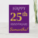 [ Thumbnail: Purple, Faux Gold 25th Wedding Anniversary + Name Card ]