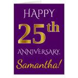[ Thumbnail: Purple, Faux Gold 25th Wedding Anniversary + Name Card ]