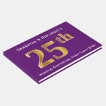 [ Thumbnail: Purple, Faux Gold 25th Wedding Anniversary Party Guest Book ]