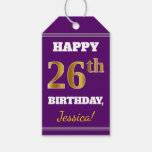 [ Thumbnail: Purple, Faux Gold 26th Birthday + Custom Name Gift Tags ]