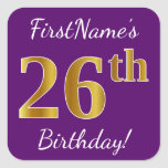 [ Thumbnail: Purple, Faux Gold 26th Birthday + Custom Name Sticker ]