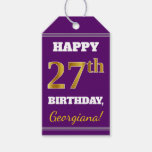 [ Thumbnail: Purple, Faux Gold 27th Birthday + Custom Name Gift Tags ]