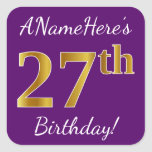 [ Thumbnail: Purple, Faux Gold 27th Birthday + Custom Name Sticker ]
