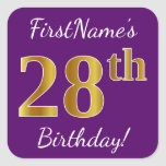 [ Thumbnail: Purple, Faux Gold 28th Birthday + Custom Name Sticker ]