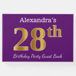 [ Thumbnail: Purple, Faux Gold 28th Birthday Party; Custom Name Guest Book ]