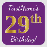 [ Thumbnail: Purple, Faux Gold 29th Birthday + Custom Name Sticker ]