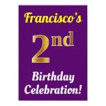 [ Thumbnail: Purple, Faux Gold 2nd Birthday Celebration + Name Invitation ]