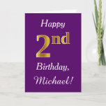 [ Thumbnail: Purple, Faux Gold 2nd Birthday + Custom Name Card ]