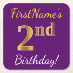 [ Thumbnail: Purple, Faux Gold 2nd Birthday + Custom Name Paper Coaster ]
