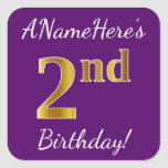 [ Thumbnail: Purple, Faux Gold 2nd Birthday + Custom Name Sticker ]