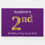 [ Thumbnail: Purple, Faux Gold 2nd Birthday Party + Custom Name Guest Book ]