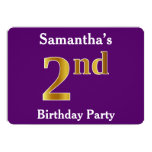 [ Thumbnail: Purple, Faux Gold 2nd Birthday Party + Custom Name Invitation ]
