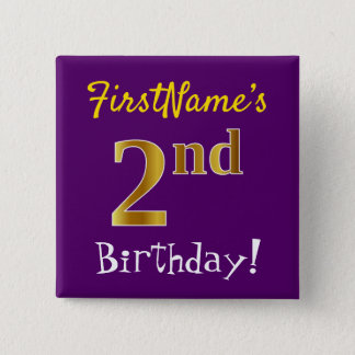Purple, Faux Gold 2nd Birthday, With Custom Name Button